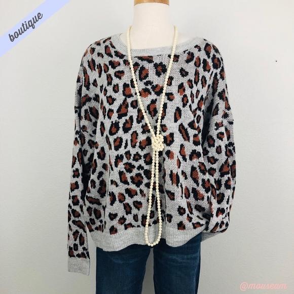 5b2489bd66664 Signature Studio Sweaters | Leopard Print Crewneck Sweater | Poshmark